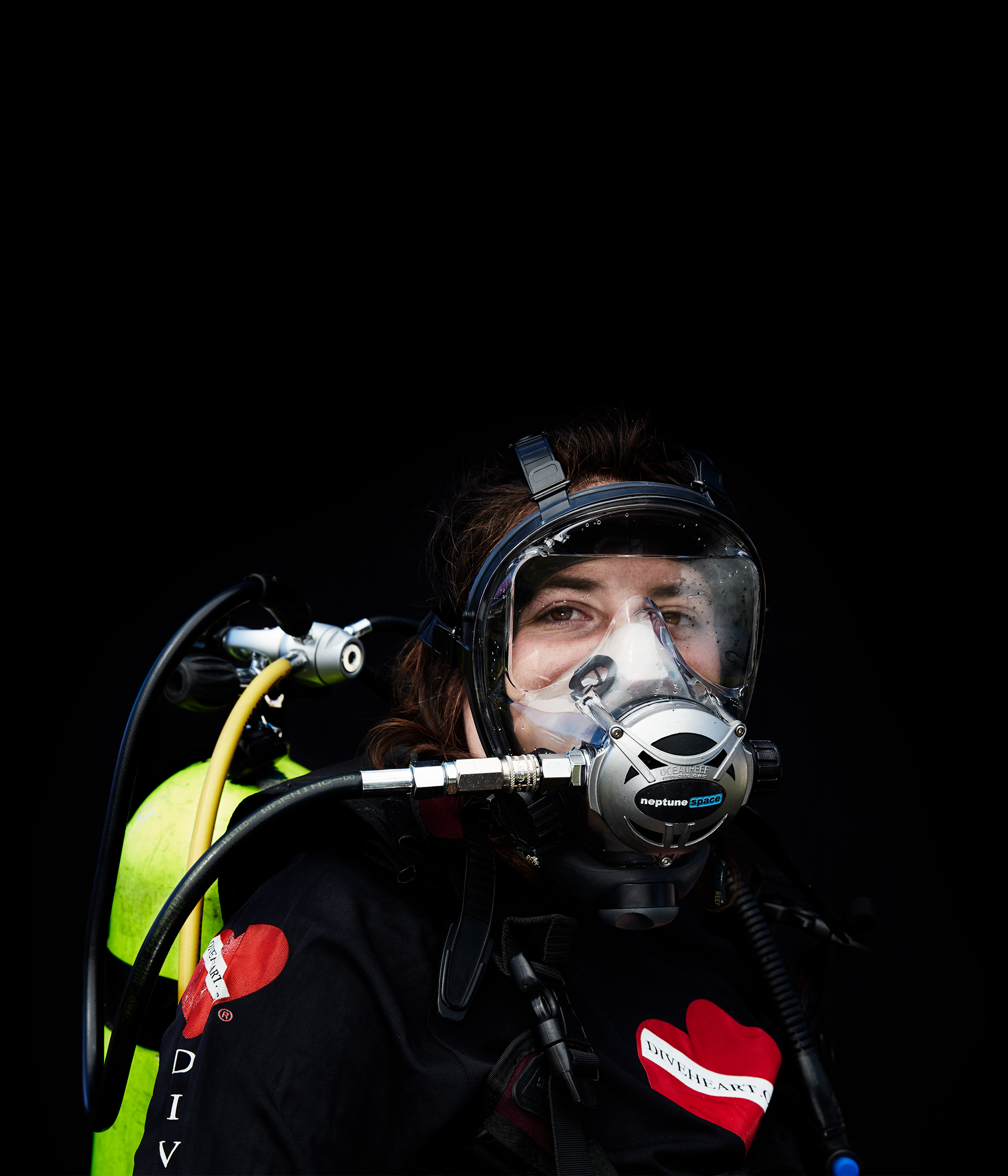 Diveheart diver in mask
