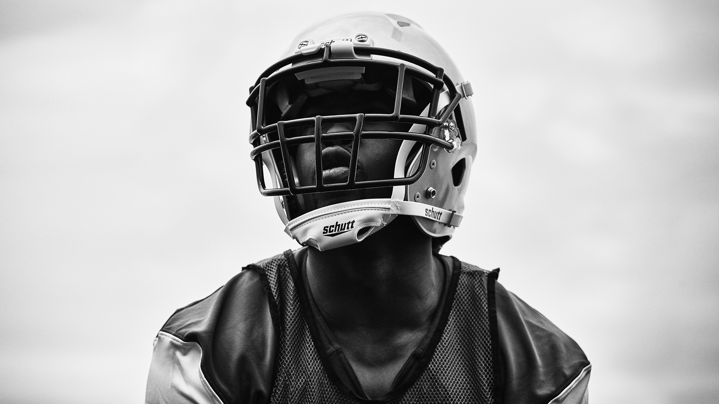 Football Player in Black and White