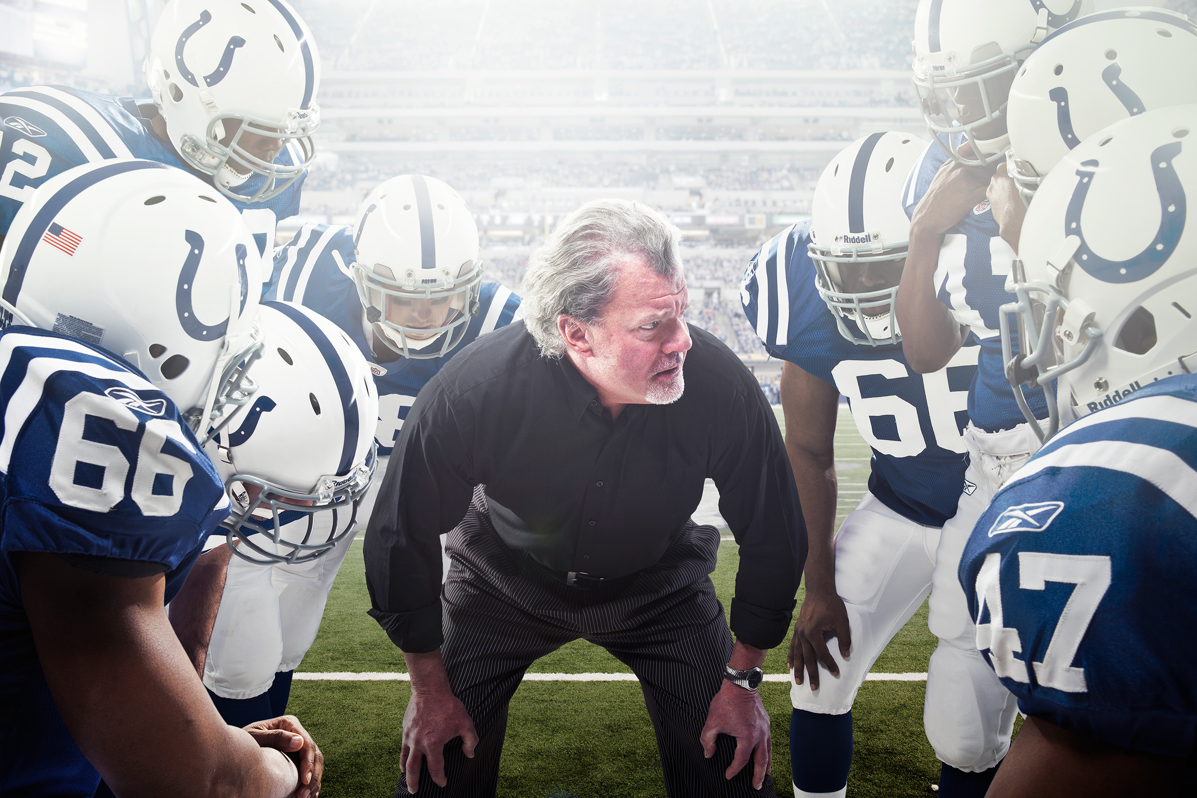 Jim Irsay Runs the Huddle